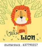 Stock vector little lion illustration vector for print 637790317
