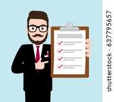 hipster businessman holding... | Shutterstock .eps vector #637795657