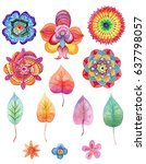 watercolor flower  spring and... | Shutterstock . vector #637798057