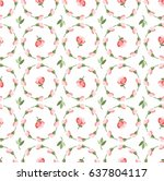floral pattern  pink buds and... | Shutterstock .eps vector #637804117