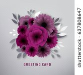 paper flower greeting card | Shutterstock .eps vector #637808647