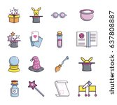 magic trick icons set. cartoon... | Shutterstock .eps vector #637808887