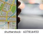 gps navigation on mobile phone...   Shutterstock . vector #637816453