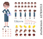 front  side  back view animated ... | Shutterstock .eps vector #637834513