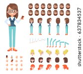 Front, side, back view animated character. Sporty girl character creation set with various views, hairstyles, face emotions, poses and gestures. Cartoon style, flat vector illustration.   Shutterstock vector #637834537