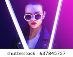 fashion portrait of young... | Shutterstock . vector #637845727