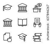 university icons set. set of 9... | Shutterstock .eps vector #637846267