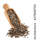 chia seeds with little spoon...   Shutterstock . vector #637848703