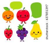 vector set of cute fruit... | Shutterstock .eps vector #637851397