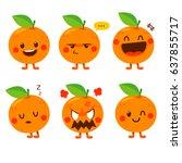 cute vector set of orange fruit ... | Shutterstock .eps vector #637855717