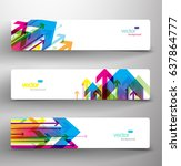 three abstract colorful arrows... | Shutterstock .eps vector #637864777
