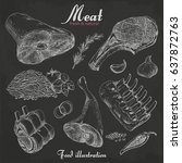 set of hand drawn meat isolated ... | Shutterstock .eps vector #637872763