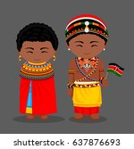 kenyans in national clothes... | Shutterstock .eps vector #637876693