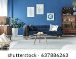 spacious cozy living room... | Shutterstock . vector #637886263
