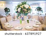 table number 11 decorated with... | Shutterstock . vector #637891927