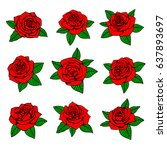 red roses with green leaves... | Shutterstock .eps vector #637893697