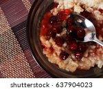 oatmeal porridge with cherry... | Shutterstock . vector #637904023