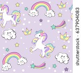 unicorn seamless pattern | Shutterstock .eps vector #637904083