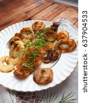 fish fillet grilled with onions ... | Shutterstock . vector #637904533