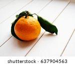 tangerine with leaves on white... | Shutterstock . vector #637904563