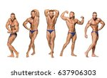 attractive male body builder on ... | Shutterstock . vector #637906303