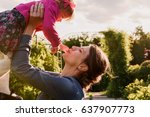 young mother and her daughter... | Shutterstock . vector #637907773