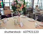 square table served with white... | Shutterstock . vector #637921123