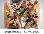 top view  group of people... | Shutterstock . vector #637931923