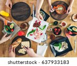 top view  group of people... | Shutterstock . vector #637933183