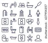 toilet icons set. set of 25... | Shutterstock .eps vector #637954357