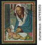Small photo of RUSSIA KALININGRAD, 15 APRIL 2017: stamp printed by Paraguay, shows Painting Madonna and Sleeping Child by Albrecht Durer, circa 1979