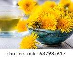 dandelion. yellow dandelion... | Shutterstock . vector #637985617