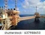 offshore construction platform... | Shutterstock . vector #637988653
