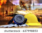 standard construction safety... | Shutterstock . vector #637998853