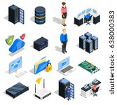 datacenter isometric icons... | Shutterstock .eps vector #638000383
