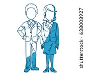 man and woman business people... | Shutterstock .eps vector #638008927