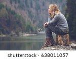 horizontal side view portrait... | Shutterstock . vector #638011057