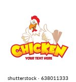 a happy funny cartoon rooster... | Shutterstock .eps vector #638011333