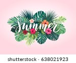 Stock vector summer tropical vector design for banner or flyer with exotic palm leaves hibiscus flowers and 638021923