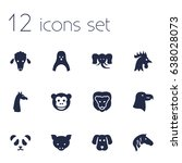 set of 12 beast icons set... | Shutterstock .eps vector #638028073