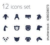 set of 12 beast icons set... | Shutterstock .eps vector #638028073