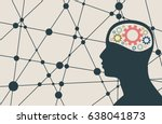 silhouette of a man's head with ... | Shutterstock . vector #638041873