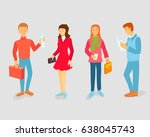 vector students with gadgets... | Shutterstock .eps vector #638045743