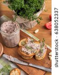 bean pate with garlic and thyme ... | Shutterstock . vector #638052337