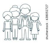 blue contour faceless family... | Shutterstock .eps vector #638052727