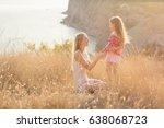 mother and daughter on a... | Shutterstock . vector #638068723