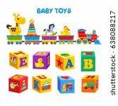 set of vector children's toys.... | Shutterstock .eps vector #638088217