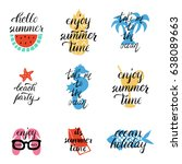 a set of style lettering summer ... | Shutterstock .eps vector #638089663