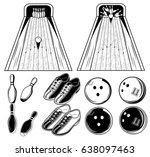 vector black and white set of...