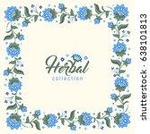 floral square vintage frame ... | Shutterstock .eps vector #638101813